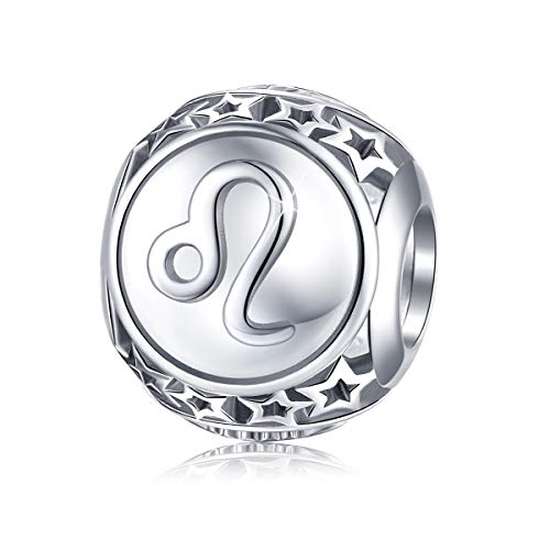 Leo Zodiac Sign Charm fit Pandora Charms Bracelet, 925 Sterling Silver Plated Platinum Bead Charm 12 Horoscope Constellation Charm for US European Bracelet and Necklace, Birthday Gifs BJ09029 ()