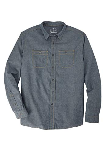 Liberty Blues Men's Big & Tall Long-Sleeve Utility Shirt, Chambray Big-XL