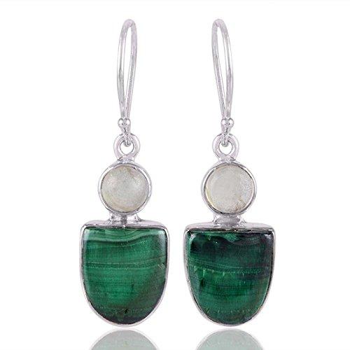 925 Sterling Silver Malachite Prehnite Dangle Earrings