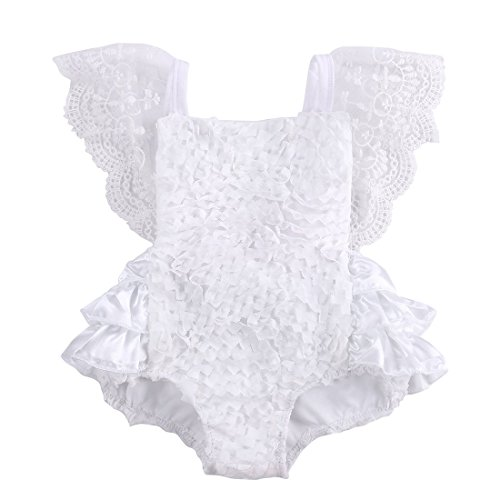 Baby Girls Lace Floral Cake Bodysuit Romper Jumpsuit Backless Sunsuit Outfits (3-6 (Leopard Jumper)