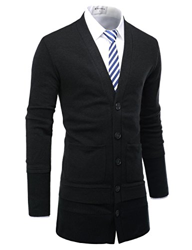 NEARKIN NKNKCD1631 Beloved Mens 5 Button Layered Design Knitted Long Cardigan Black US XL(Tag size XL) (Button Cardigan Toggle Sweater)