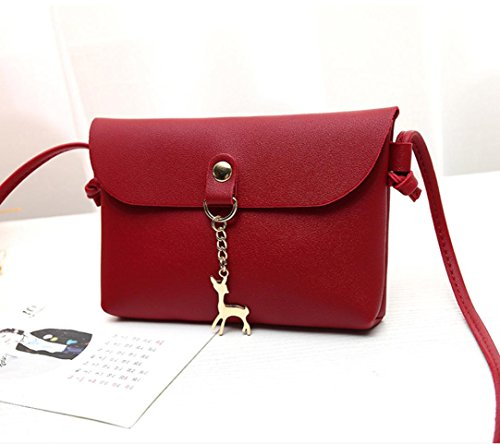 Single Handbag Pendant Bag Casual Shoulder Red Women Leather Shoulder Lady PU TOOPOOT Deer 2018 Bag Small Vintage Messenger w5qg7YB