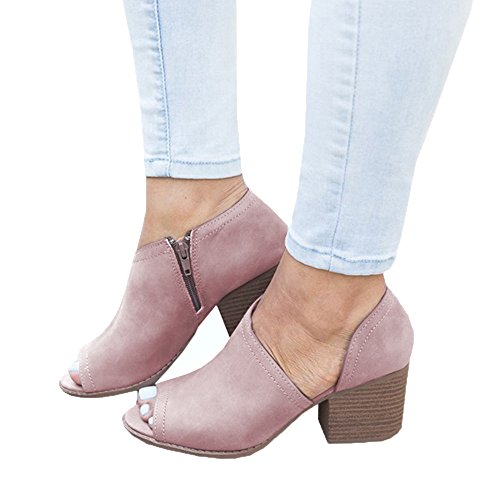 XMWEALTHY Women's Chunky Heels Sandals Shoes Summer Casual Peep Toe Pumps Ankle Boots Light Purple US 8