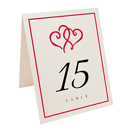 Linked Hearts and Border Table Numbers, Champagne, Ruby Red, Numbered 1 through 50 (Champagne Ruby)