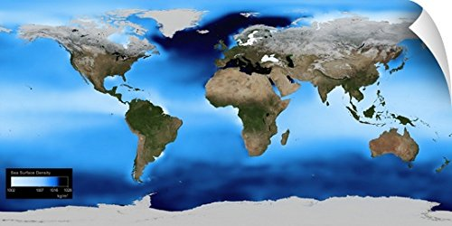 Canvas On Demand Wall Peel Wall Art Print entitled Sea surface density, global map (Global Warming Experiments)