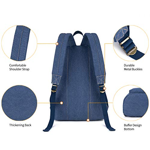 Canvas School Laptop Backpack, Durable Rucksack, Travel Notebook Bag, for Men Women Blue