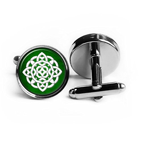 Celtic Knot Circle White on Green Rhodium Plated Silver Cufflinks (Link Circle Plated)