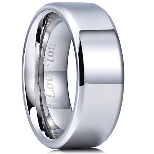Etched Daisy - King Will BASIC 8mm Stainless Steel Ring Polished Plain Beveled Edge Wedding Band Laser Etched I Love You 11.5