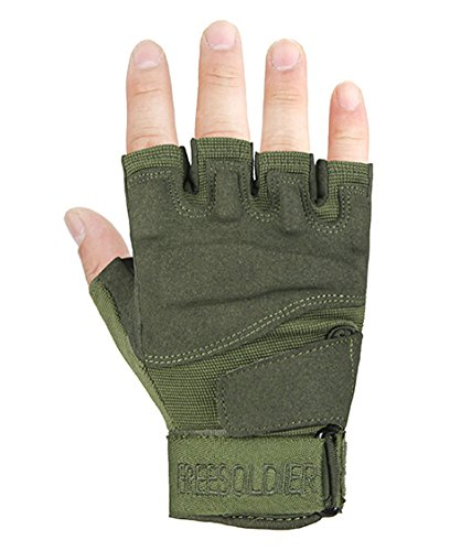 PANDA SUPERSTORE Fingerless Breathable Wear Resistant/Hunting/Climbing/Shooting Gloves Green, M