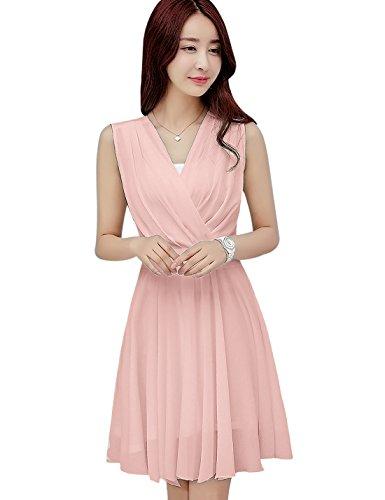 Tanming Women's Sleeveless V-Neck Knee Length Tank Chiffon Dress with Belt (X-Small, ()