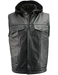 Men's Leather Club Style Vest w/Removable Bib Hoodie | Premium Natural Buffalo Leather | Patch Access Lining,...