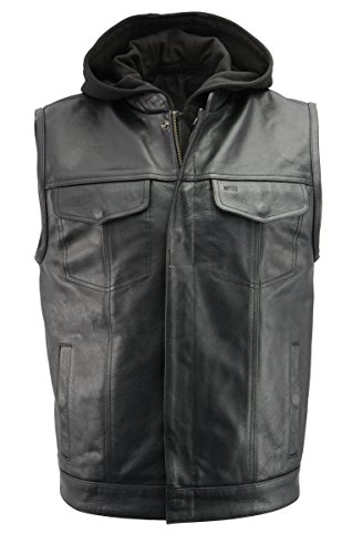 - Men's Leather Club Style Vest w/Removable Bib Hoodie | Premium Natural Buffalo Leather | Patch Access Lining, New Outseam Gun Pocket | Black Motorcycle Vest (Black, 2X)
