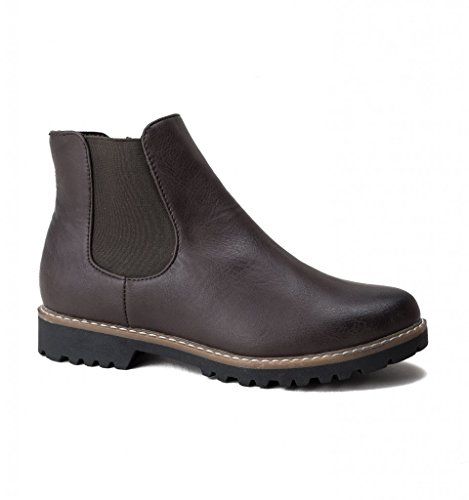 Chelsea Boots Brown Divaz GRACE Faux Brown Ladies Leather wxq1WOzF6I