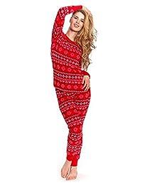 Cozy & Curious Women's Heart & Snow Print Pajamas (Red, Set Of 2)