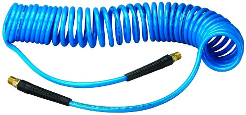 Polyurethane Flexible Air Hose - Amflo 24-25E-RET Blue 120 PSI Polyurethane Recoil Air Hose 1/4