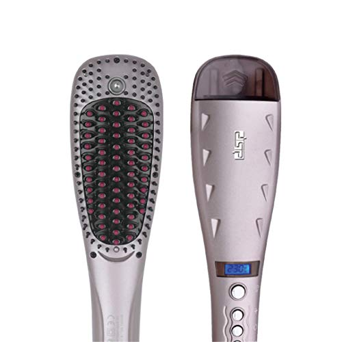 Digital Electric Hair Straightener Brush Comb Ionic Steam Iron Hair Straightening Iron Perfect Styler LED Display EU Plug Beige EU ()