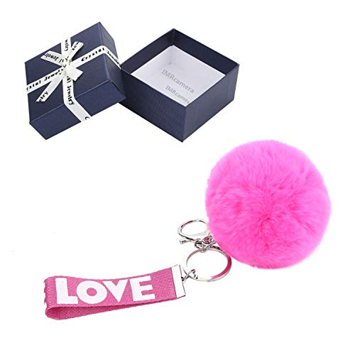 Keychain with Letters Love Key Ring Genuine Rabbit Fur Ball Key Chain Accessories Car Bag Gift for Women Girls Friends Birthday Gifts (Rose)