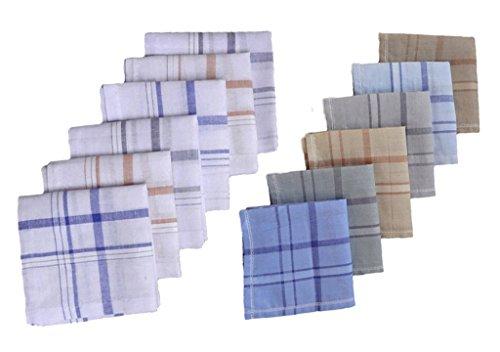 S4S 100% Cotton 6 Striped and 6 Multicolor Handkerchiefs