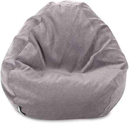 Majestic Home Goods Faux Suede Large Classic Bean Bag Chair Steel