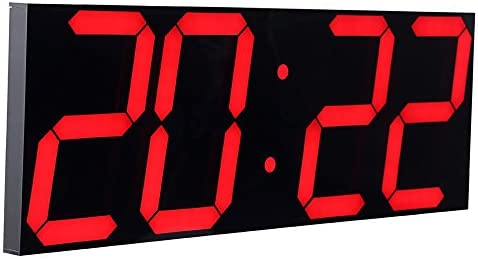 CHKOSDA Remote Control Jumbo Digital Led Wall Clock, Multifunction Led Clock, Large Calendar, Minute Alarm Clock, Countdown Led Clock, Big Thermometer, Mute Clock Red, Shell