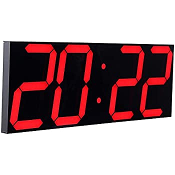 Amazon Com Ivation Big Oversized Digital Blue Led Calendar Clock With Day And Date Shelf Or Wall Mount 16 Inches Red Led Electronics