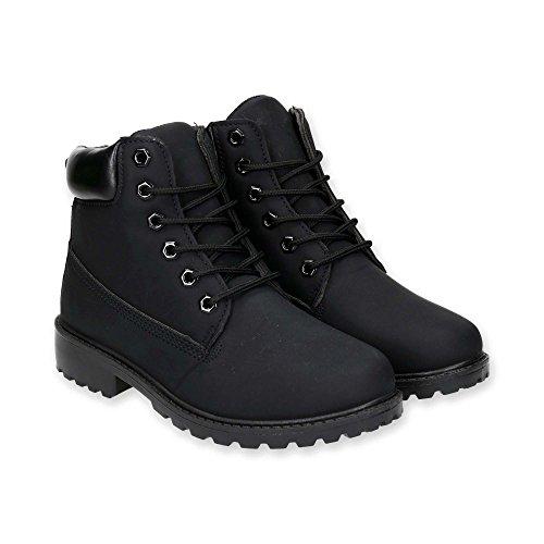Damen Outdoor Stiefel | Working Stiefeletten im bequemen und modischen Design | Wander Schnür Boots Schuhe | Warm gefüttert | Gr. 36 bis 41 | Japanolo | Schwarz Gefüttert EU 36