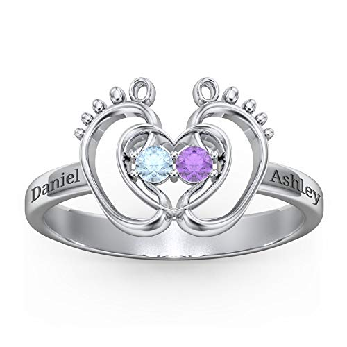 GIFTCUSTOMONE Personalized Rings for Women Customized Mother Rings Engraved Name Date Birthstone Rings Gift for Mom Baby Feet Heart Footprints Ring Mothers Day Promise Ring for Her Wife,Silver
