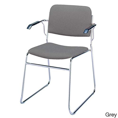 (KFI Seating 311 Stacking Chair Sled Base, Commercial Grade, Gray Fabric, Made in the USA)