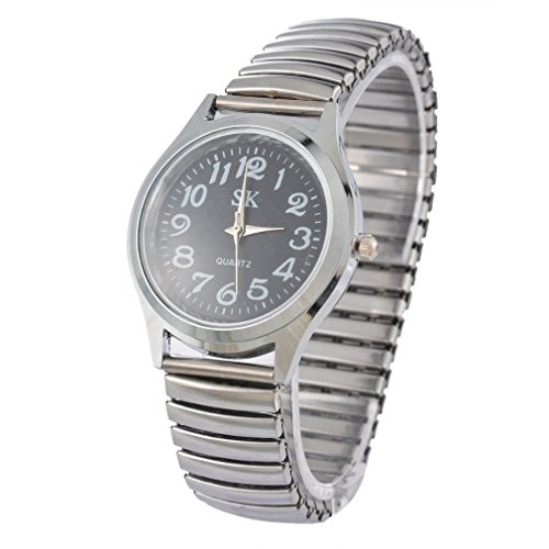 Souarts Womens Silver Tone Color Elastic Band Quartz Analog Wrist Watch 21cm