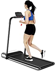 GYMAX Folding Treadmill, Installation-Free Walking/Running Pad with LCD Monitor & Removable Phone Holder,