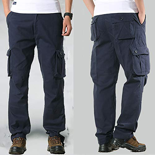 Raroauf Men's Cotton Loose Fit Casual Work Pants Tactical Cargo Pants with 6 Pockets(Size 29-44)