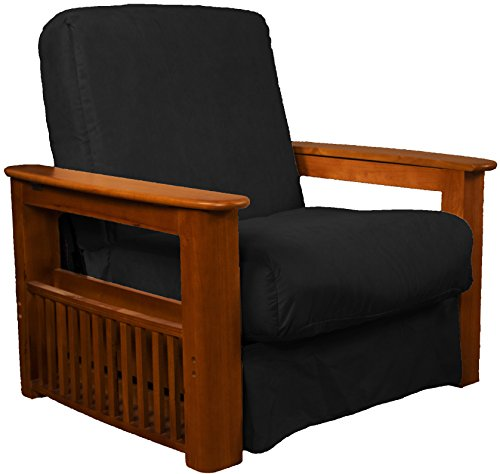 Walnut Futon Chair - Chicago Storage Arm Style Perfect Sit & Sleep Pocketed Coil Inner Spring Pillow Top Chair Sleeper Child-size Bed, Chair-size, Walnut Arm Finish, Microfiber Suede Ebony Black