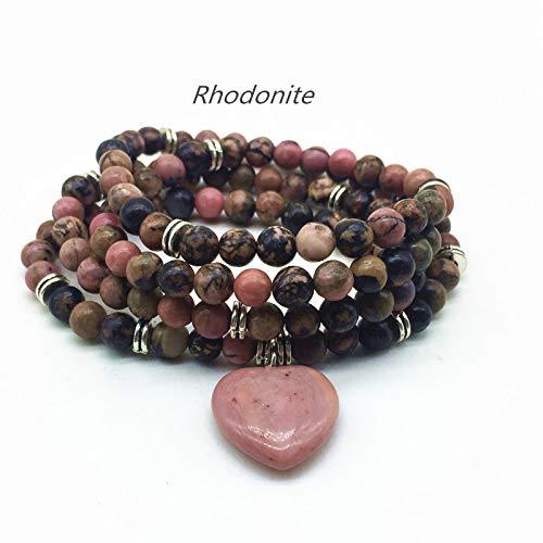 (Zozu Natural Stone Beads Bracelets Elastic 74 cm Mala Yoga Necklace Labradorite Amazonite Heart Charm Drop Shipping (rhodonite silver))