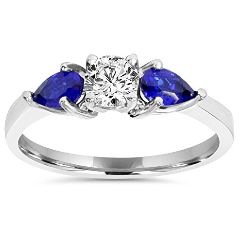 1ct 3 Stone Pear Shape Blue Sapphire & Diamond Engagement Ring 14K White Gold - Size 7.5