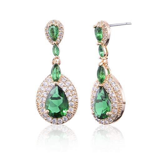 CZ Teardrop Emerald Green Earrings - Women's 18k Gold Plated Sterling Silver Cubic Zirconia Crystal Rhinestone Wedding Hypoallergenic Drop Earrings for Mother's Day Birthstone Jewelry