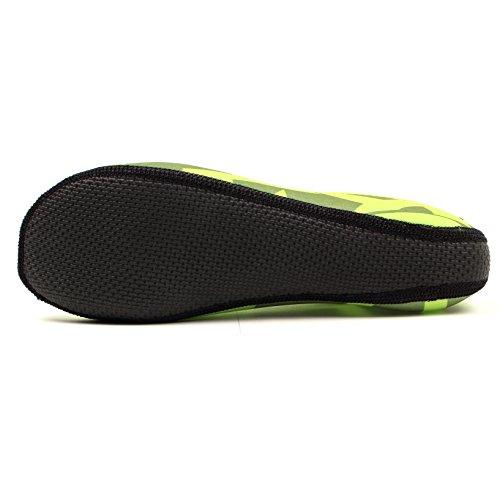WOWFOOT Barfuß Wasserhaut Schuhe Socken Frauen Männer Flexible Schwimmen Schuh Strand Aqua Surf Pool Yoga Übung Grün (Muster)