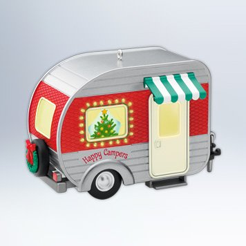 Hallmark 2012 Keepsake Ornament, Happy Campers made our list of the most unique camping Christmas tree ornaments to decorate your RV trailer Christmas tree with whimsical camping themed Christmas ornaments!