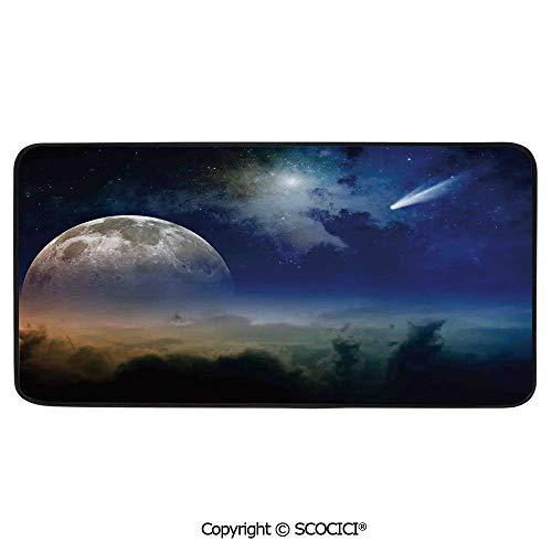 Print Door Mat, Indoor Floor Area Carpet Compatible Bedroom,Living Room,Children, Playroom, Bathroom,Outer Space,Clouds Full Moon Rise and Comet in Dark Sky Celestial,39