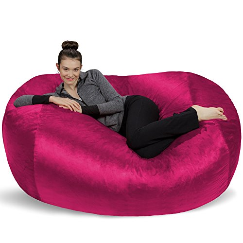 Sofa Sack - Plush Bean Bag Sofas with Super Soft Microsuede Cover - XL Memory Foam Stuffed Lounger Chairs for Kids, Adults, Couples - Jumbo Bean Bag Chair Furniture - Magenta 6' ()