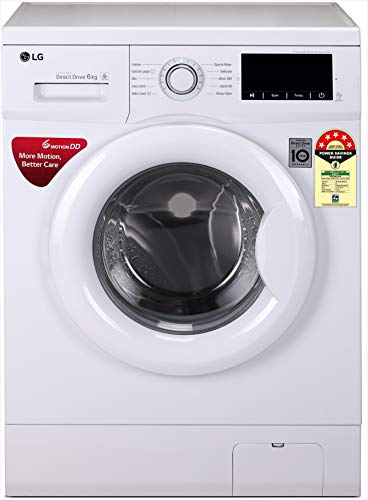 LG 6.0 Kg 5 Star Inverter Fully-Automatic Front Loading Washing Machine (FHM1006ADW, White, Direct Drive Technology) 2021 June Fully-automatic front load washing machine: best wash quality, energy and water efficient Energy Rating 5 Star: best in class efficiency Capacity 6.0 kg: Suitable for bachelors & couples