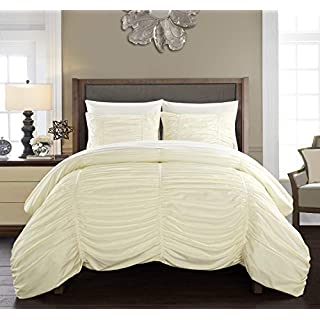 Chic Home Kaiah 3 Piece Comforter Set Contemporary Striped Ruched Ruffled Design Bedding - Decorative Pillow Shams Included, Queen, Beige