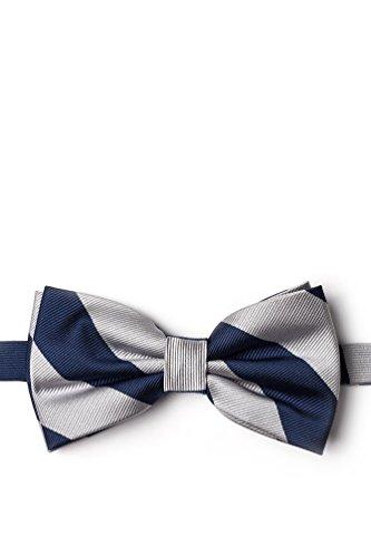 Navy & Silver Stripe Navy Blue Microfiber Pre-Tied Bow Tie ()