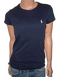 RALPH LAUREN Women's Sport Crewneck Striped Pima Cotton Pony Logo T-Shirt