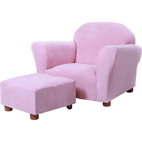 Club Chair For Kids With Ottoman Set, Soft Microfiber Children Armchair (Pink) by Simple Living