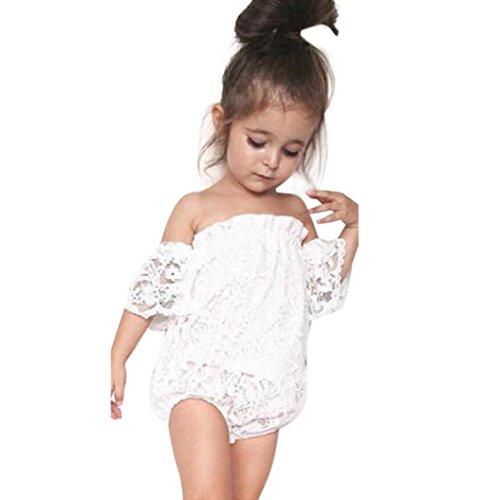 Sunbona Toddler Infant Baby Girl Flower Lace Off Shoulder Romper Jumpsuit Outfit Set Clothes