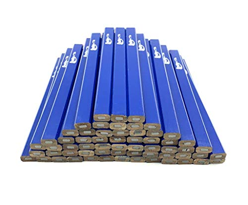 BRUFER 25252 Blue Carpenter Pencils - Bulk Pack Box of 60 Carpenter Pencils