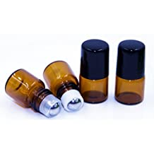20PCS 1ml Brown Glass Empty Metal Roller Bottles Container Holder With Black Caps For Essential Oil Perfumes and Lip Balms