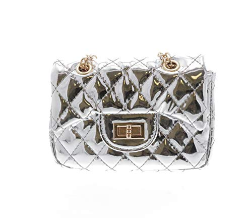 (Doe a dear Metallic Foil Quilted Purse   Pretend Play Purse   Free Hair Clip   Multi Color   One Size   for Kids, Toddler, Teenage Girls, Bolsa para Ninas (Silver))