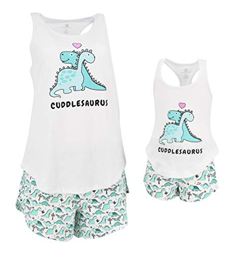 Mommy And Me Christmas Pajamas (Unique Baby UB Girls Cuddlesaurus Mommy and Me Valentine's Day Loungewear Outfit (2t))