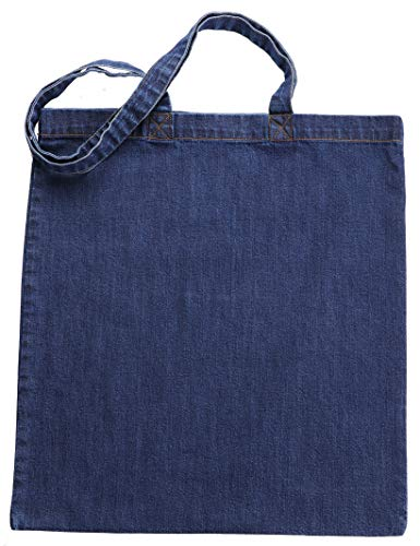 Green Atmos 3 pack Pre-Washed Indigo Denim 15 X 16 inch with 27 inch long handle reusable grocery tote bags cotton eco friendly super strong washable great choice for promotion branding (Cotton Denim Tote)